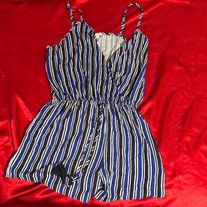 Pants - Blue and White Striped Romper